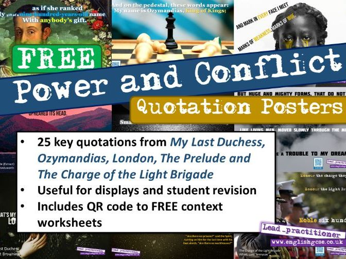 Power and Conflict Poetry Key Quotes Display
