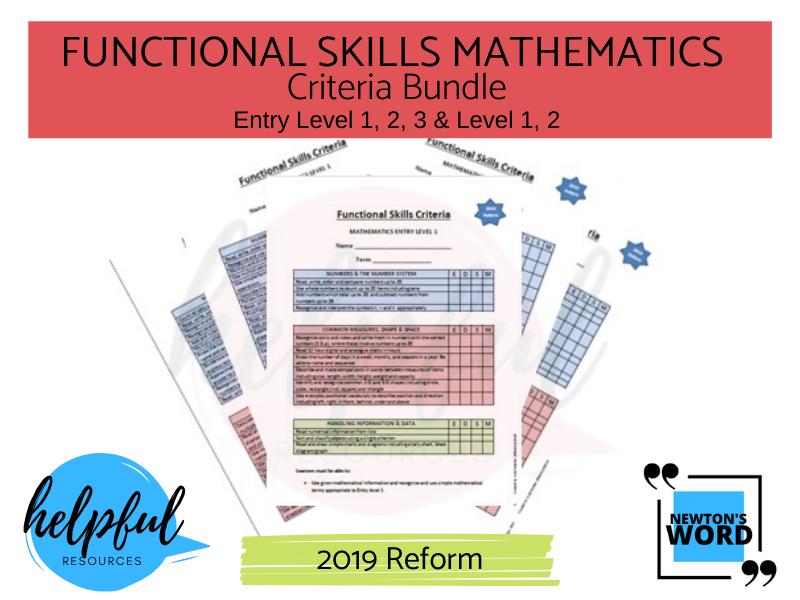 Functional Skills Mathematics Criteria Bundle E1, E2, E3, L1, L2