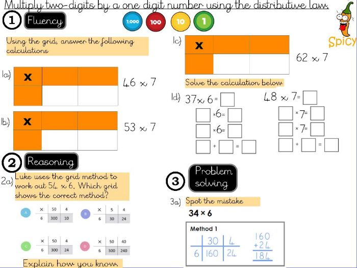 Multiplication and division- Multiply a two digit number by a 1 digit number using distributive law