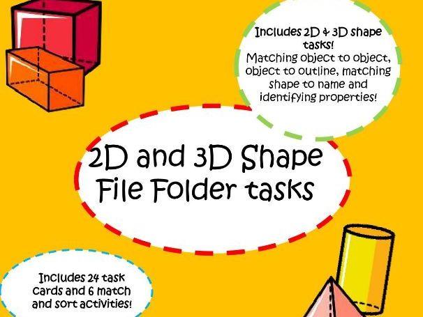 2d and 3d shape Workstation tasks - independent Autism activities
