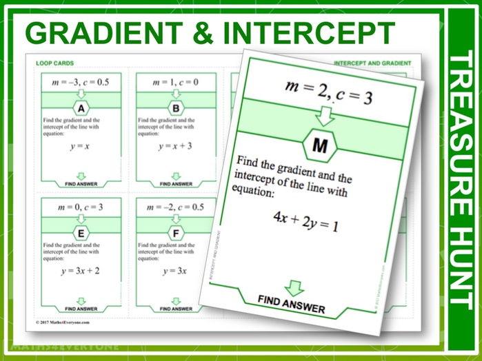 Gradient and Intercept (Treasure Hunt)