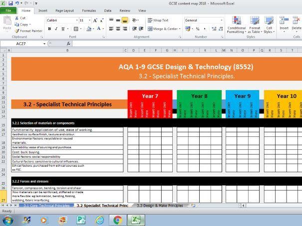 Curriculum Map Template - AQA GCSE Design & Technology (8552)