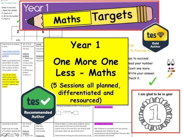 Year 1 / 2 one more one less  x5 Sessions Resource Pack (Maths, Number, Shape, Mastery)