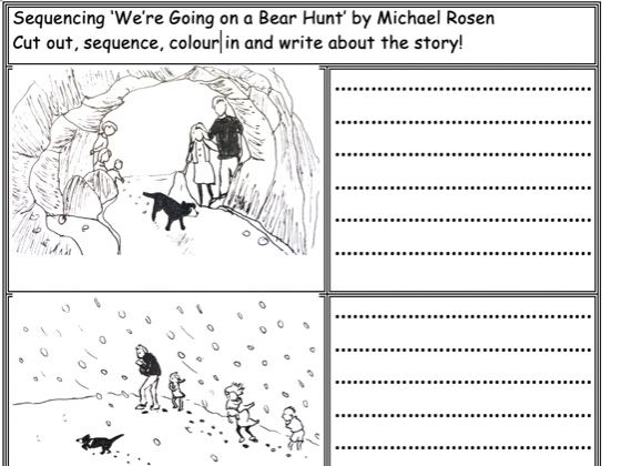 We're Going on a Bear Hunt Worksheets: Sequencing the story, descriptive writing KS1 Kindergarten