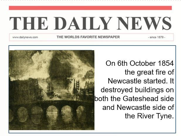 The Great Fire of Newcatle/Gateshead & The River Tyne