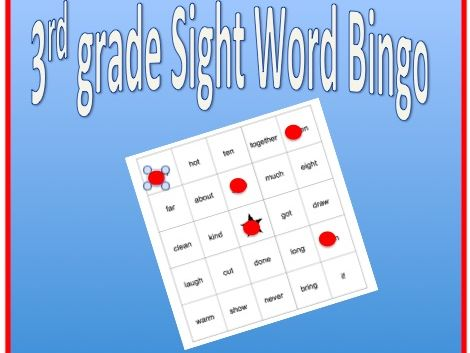 Sight Word Bingo - 3rd grade sight words