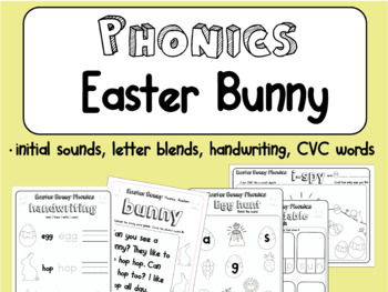 Easter Bunny Phonics Pack | Easter Spring theme | Literacy Holiday Pack 12 pages