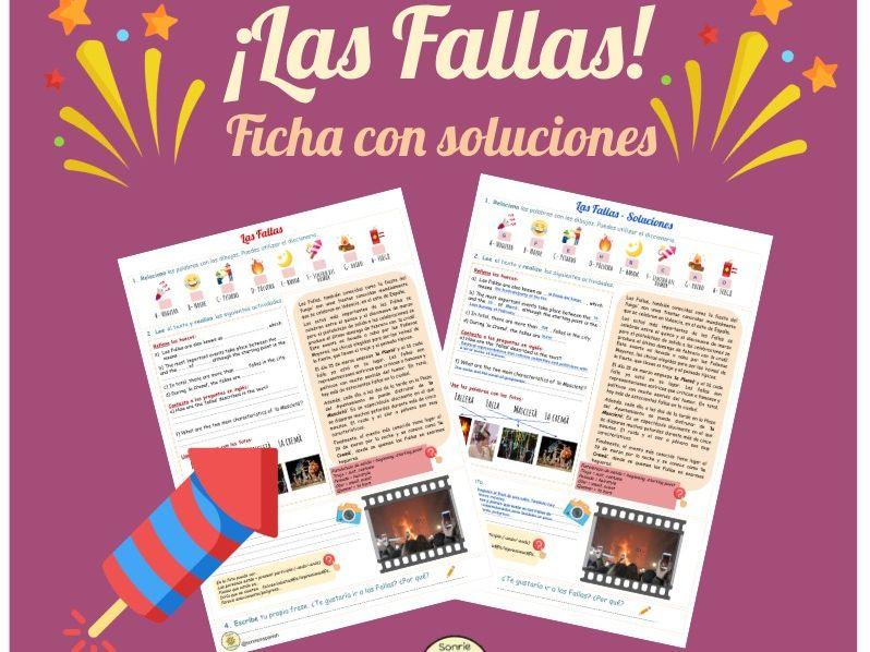 Las Fallas worksheet. Identity and culture. Spanish festivals. Photocard description