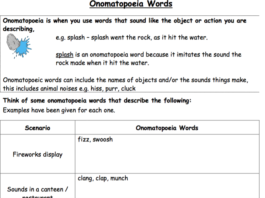 Onomatopoeia - Vocabulary Extension