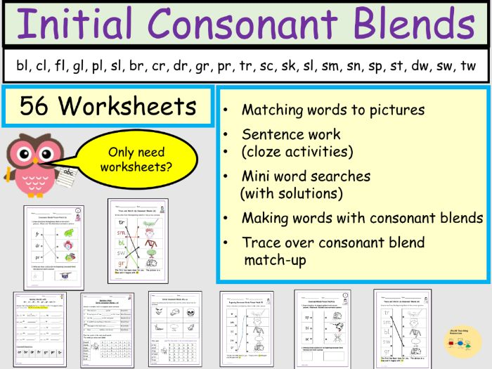 Consonant Blends or Clusters Initial Consonant Blends - 56 Worksheets