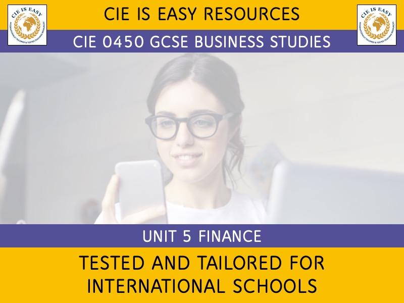 CIE iGCSE Business 0450 Unit 5 Finance [Chinese Keywords] [Updated 2020]