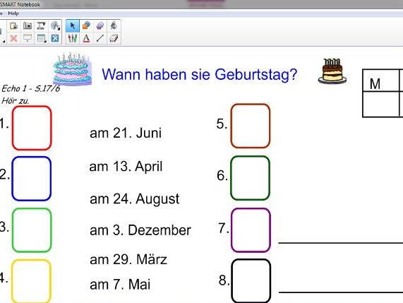 KS3 Echo1 Wann hast du Geburtstag? Interactive