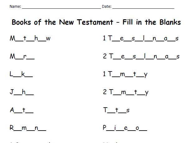 Books of the New Testament - Fill in the Blanks