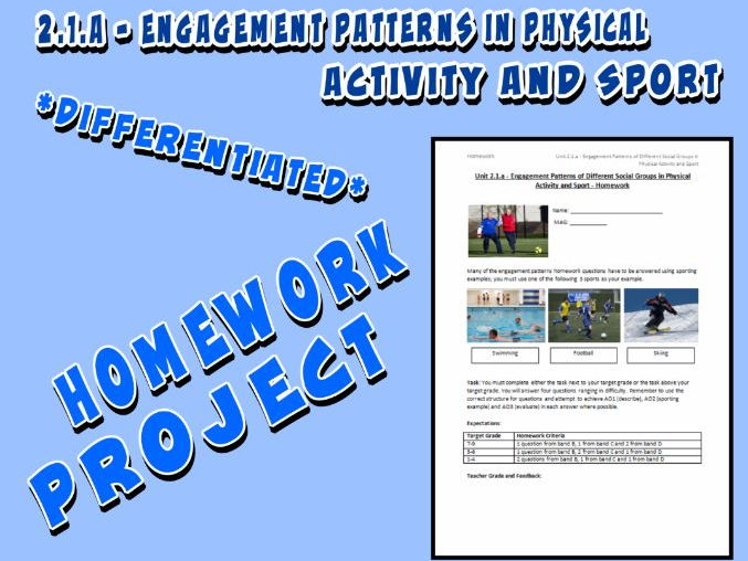OCR GCSE PE 9-1 (2016) 2.1.a - Homework Project - Engagement Patterns in Physical Activity and Sport