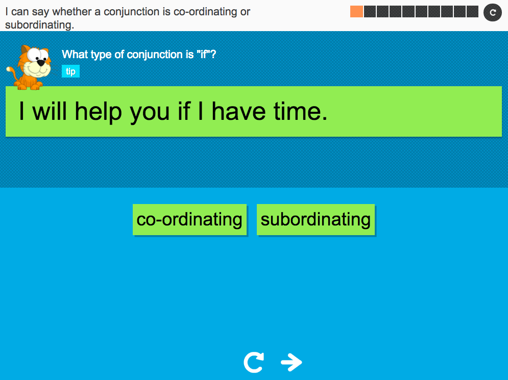 I can say whether a conjunction is coordinating or subordinating - Interactive Activity - Year 3 Spag