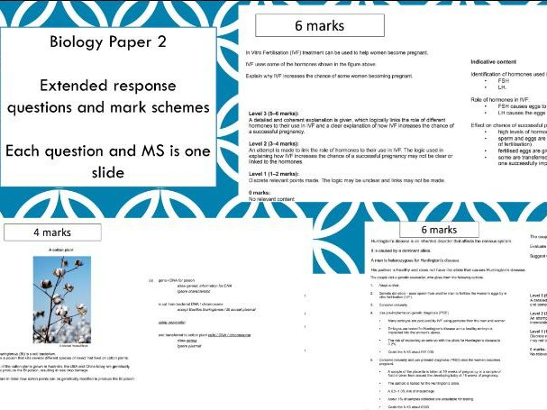 Combined Science Trilogy Biology Paper 2 Extended response