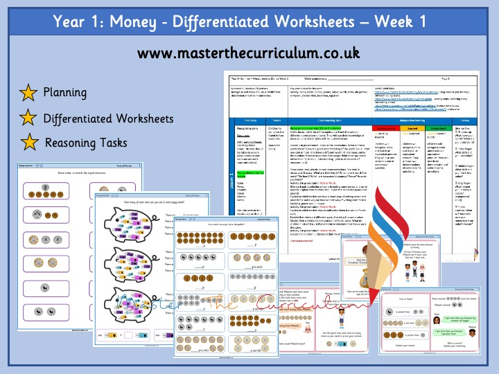 Year 1 Differentiated Money Worksheets - White Rose Aligned