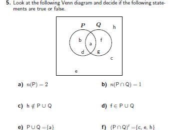 Venn diagrams worksheet (with solutions)