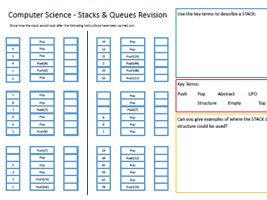 A Level Computer Science - Stacks & Queues Data Structure Revision Worksheet