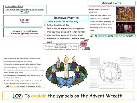 Advent Wreaths- KS3