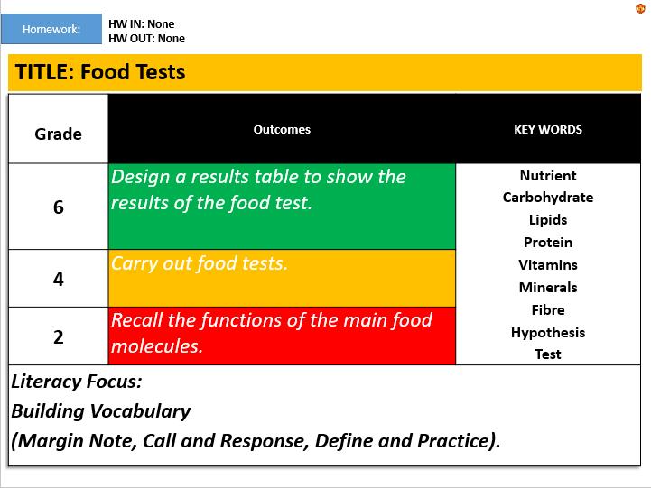 KS3: Food Tests