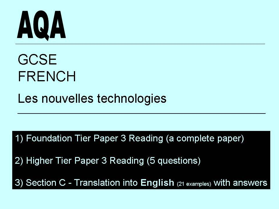 AQA GCSE French (new spec) Paper 3 Reading Practice