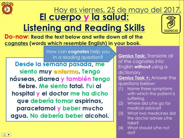 KS3/4 Spanish - Listening & Reading Skills (Topic: Body & Health)