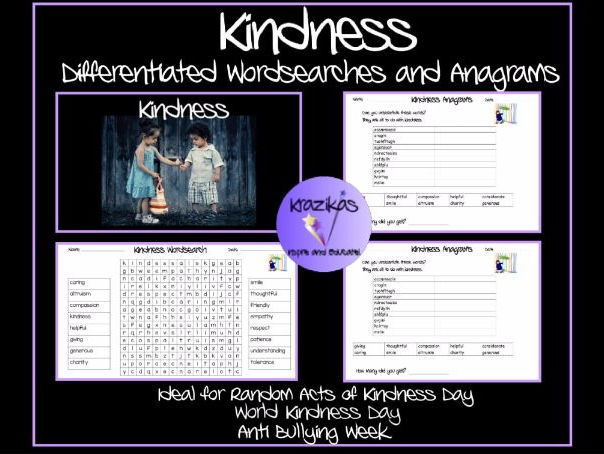 Kindness - Set of Differentiated Anagrams and Wordsearches - Ideal for Random Acts of Kindness Day