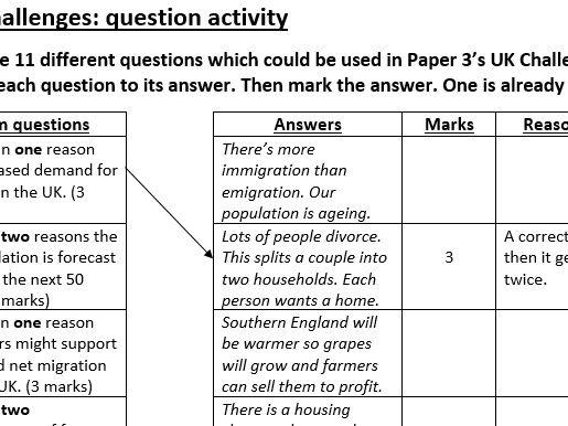 UK Challenges revision question activity