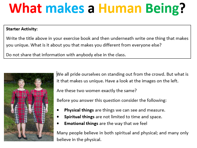 What makes a Human Being Worksheet?