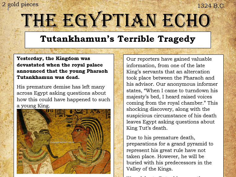 Ancient Egypt: Tutankhamun's Tomb - A Newspaper Article