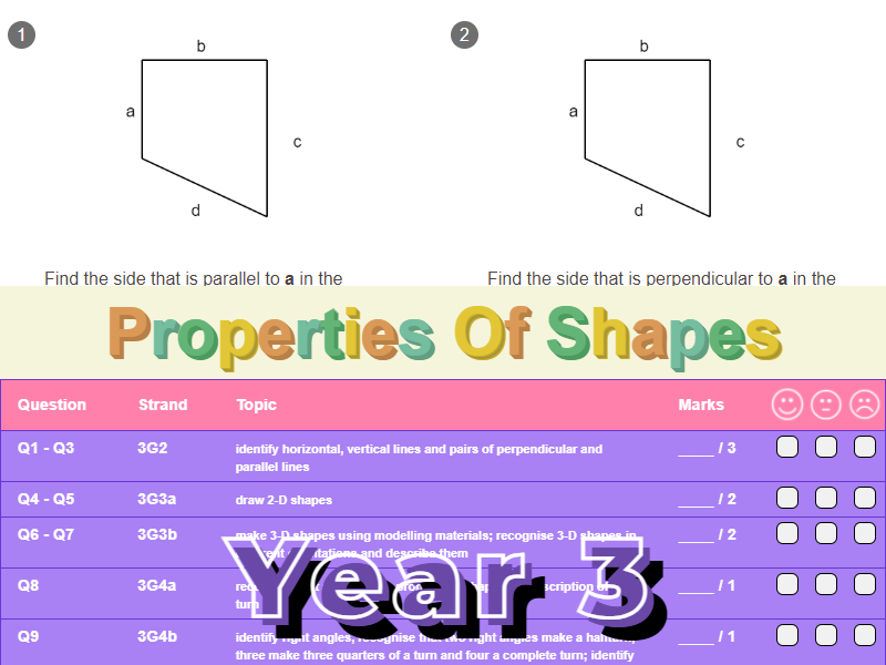 Properties Of Shapes Worksheet + Answers (KS2 - Year 3)