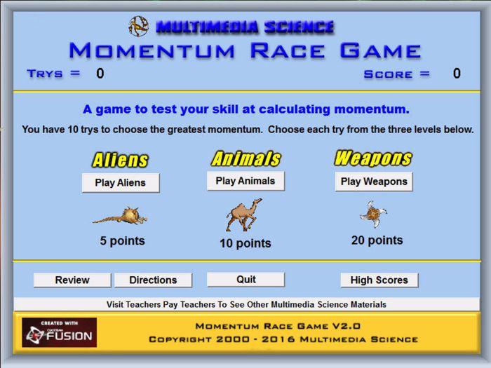 Physics - Momentum Race Game - PC & MAC Flash Version