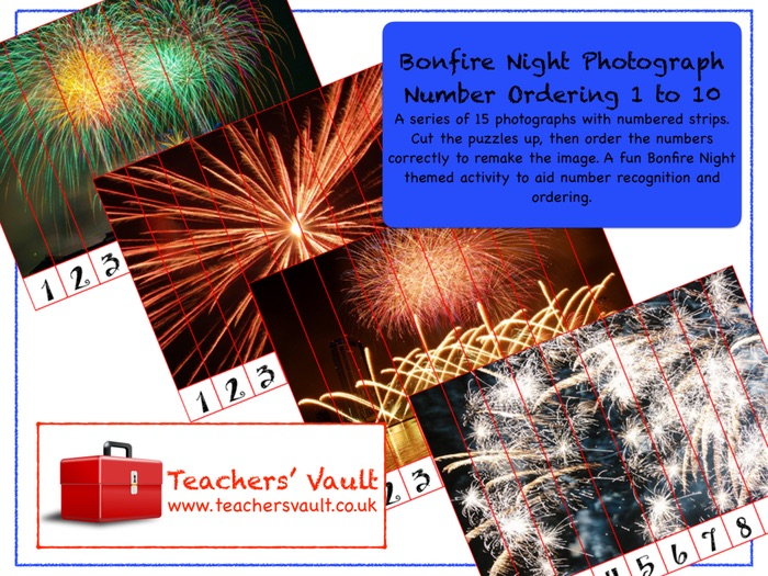 Bonfire Night Photograph Number Ordering 1 to 10