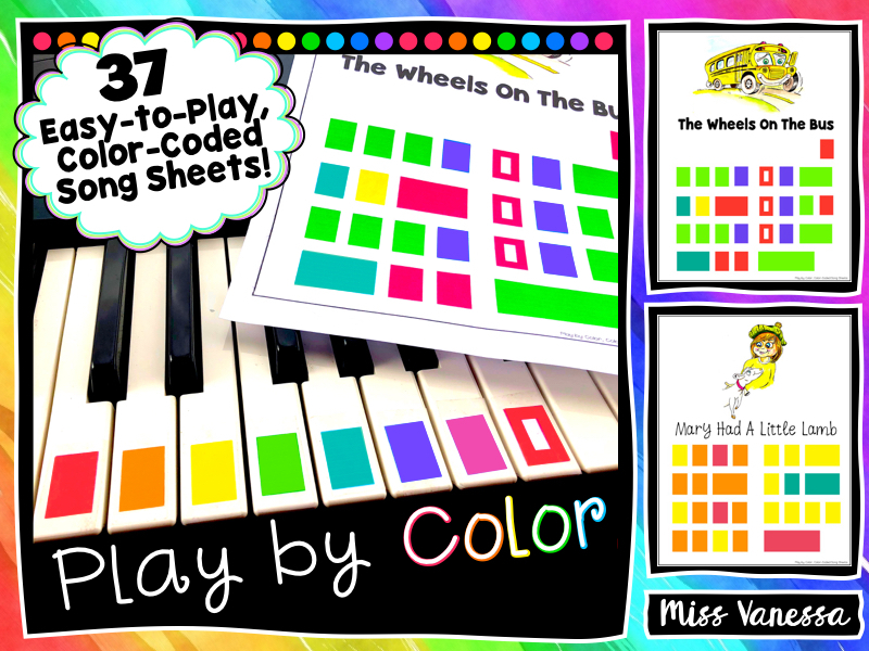 37 Color-Coded Easy-to-Play Songs for Boomwhackers or Piano!