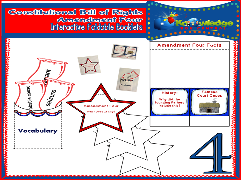 Constitutional Bill of Rights: Amendment Four Interactive Foldable Booklets