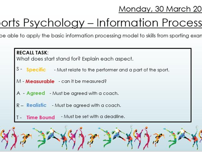 AQA 9 - 1 GCSE PE Information Processing Lesson