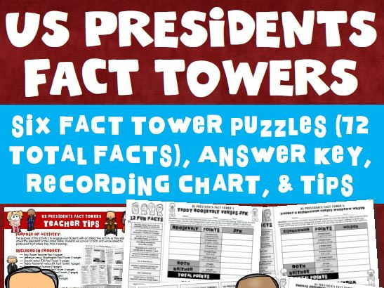 United States Presidents Fact Tower Activity