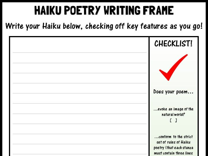 Haiku poetry writing frame