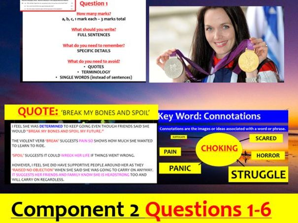 EDUQAS Language Paper 2 Q1-Q6 model answer PowerPoint + podcast (cycling exam)
