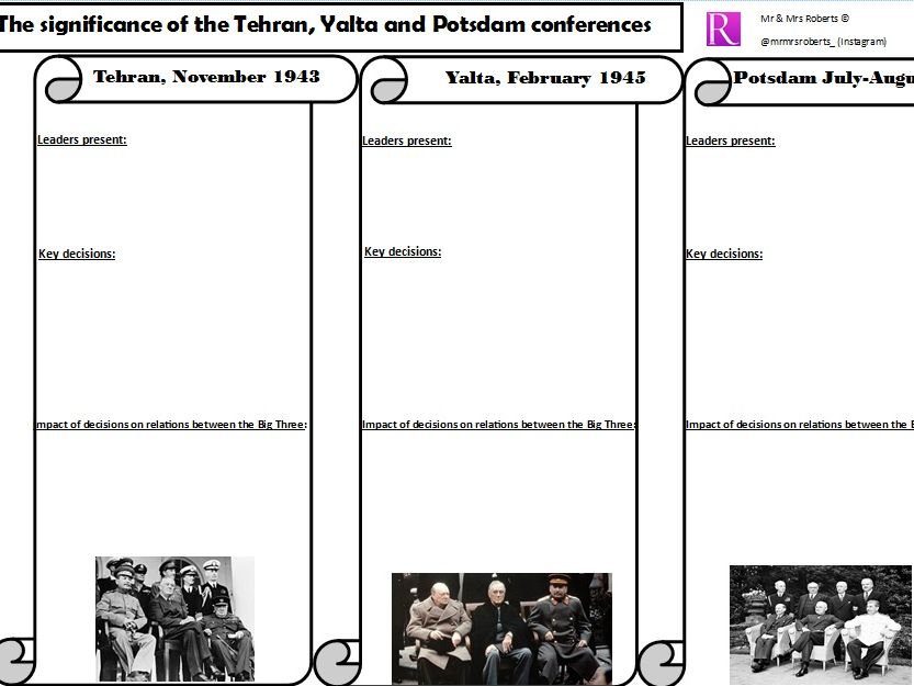 Edexcel GCSE History - Cold War - Topic 1 - Tehran,Yalta,Potsdam  - WORKSHEET