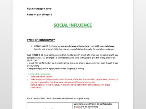 A* SOCIAL INFLUENCE Revision Notes - Psychology A-Level - Paper 1 AQA