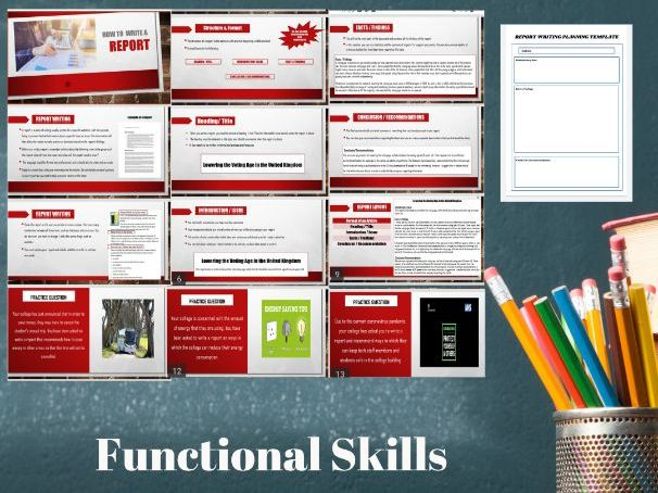 How to Write a Report PowerPoint: GCSE/Functional Skills English.13 page PPT Lesson & 3 Tasks,