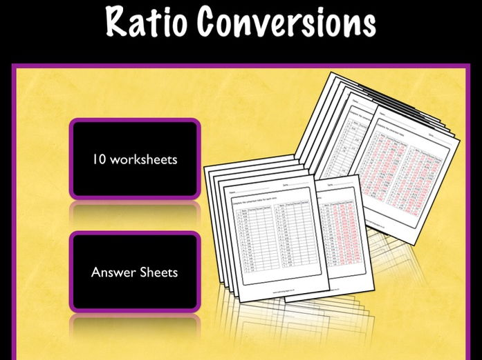Ratio: converting to fractions, percent and decimals.  KS2/3