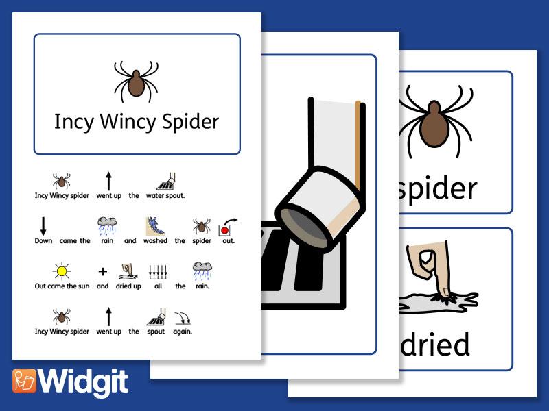 Incy Wincy Spider - Nursery Rhyme Board with Widgit Symbols