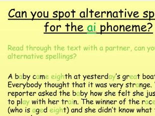 Phonics phase 5 alternative spellings for ai and c