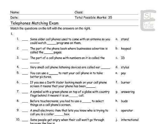 Telephones Matching Exam