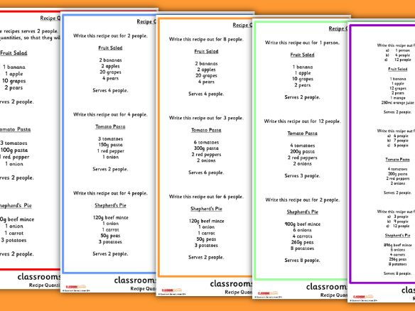KS2 Scaling Quantities Worksheet Activity