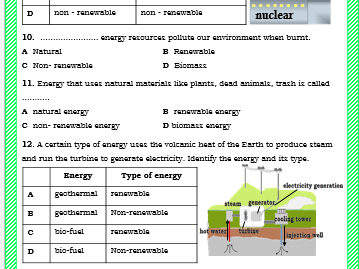 Multiple Choice Quiz on Energy - Year 7