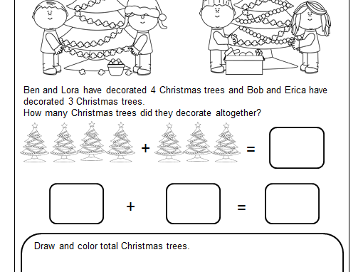 Christmas Themed Addition Word Problems with Pictures